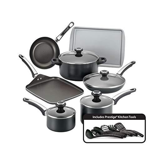 Farberware 21809 High Performance Nonstick Cookware Pots and Pans Set Dishwasher Safe 17 Piece Black