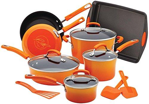 Rachael Ray 12946 Brights Nonstick Cookware Pots and Pans Set 14 Piece Orange Gradient