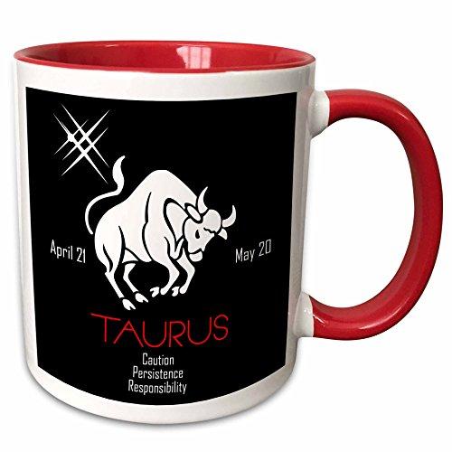 3dRose Alexis Design - Zodiac - Zodiac symbol Taurus on black background - 11oz Two-Tone Red Mug mug_272596_5