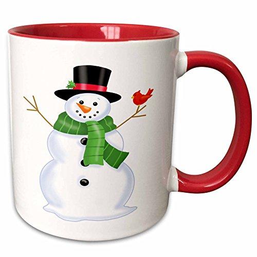 3dRose Anne Marie Baugh - Christmas - Cute Christmas Snowman With A Scarf and A Bird - 11oz Two-Tone Red Mug mug_217038_5