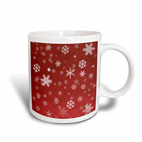 3dRose Winter Snowflakes Red Mug 11-Ounce