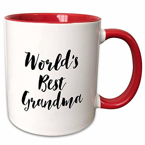 3dRose mug_219515_5 Phrase Worlds Best Grandma Two Tone Red Mug 11 oz RedWhite