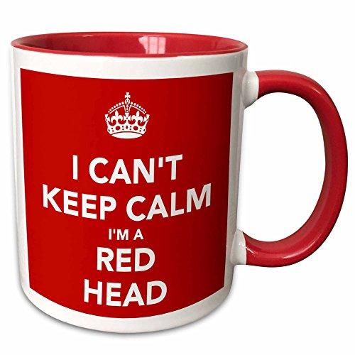 3dRose mug_222843_5 I Cant Keep Calm Im A Red Head Red Two Tone Red Mug 11 oz RedWhite