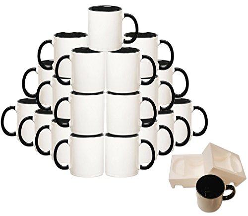 Mug 36-Piece Double Sublimation Coated Ceramic Mugs 11 Oz Blank White Black Red MUG-Case-36-Black
