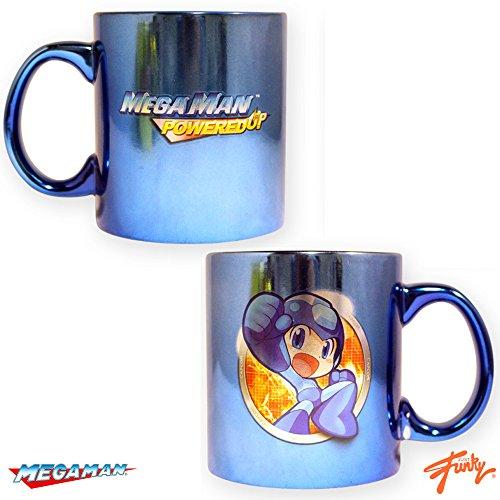 16oz Capcom OFFICIAL Megaman PoweredUP Cartoon PREMIUM Blue Ceramic Coffee Mug GIFT