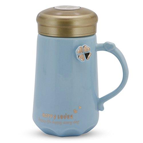 Asmwo Four Leaf Clover Good Luck Happy Mug Cute Ceramic Coffee Mug with Lid Unique Birthday Gifts Mug for Friends Women Men Blue 14 oz