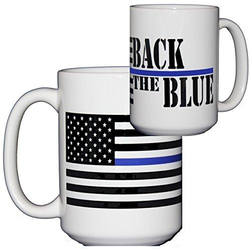 Back the Blue Coffee Mug for Police Officers - Thin Blue Line - Large 15oz Coffee Mug