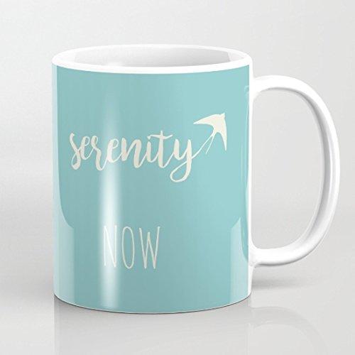 Serenity Now White And Blue Coffee Mug 11 Oz
