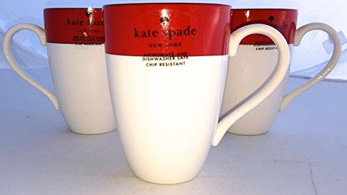 Four 4-Piece Lenox Kate Spade Rutherford Circle Red Pattern 14 oz Tea  Coffee Cup Mug Set