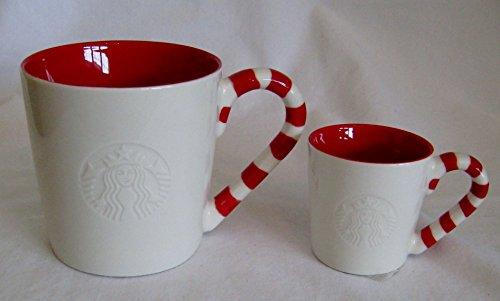 Starbucks 2012 Mermaid Logo Candy Cane Handle 12 oz WhiteRed Coffee Mug Demitasse Cup Set