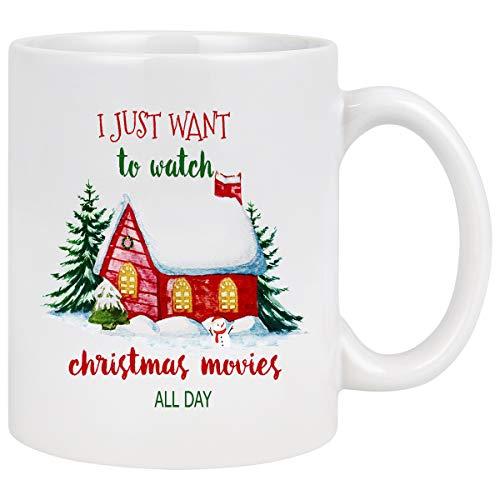 Christmas Coffee Mug Christmas Movie Coffee Mug I Just Want to Watch Hallmark Christmas Movies All Day Coffee Mug Christmas Gifts for Friends Hallmark Movie Lover Coffee Mugs for Christmas 11Oz