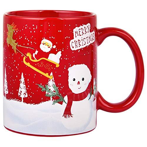 Red Christmas Coffee Mug with Christmas Snowman Christmas Tree Santa Claus and Christmas Reindeer Christmas Mug Christmas Gifts for Friends Men Women Father Mother Coffee Mugs for Christmas 11Oz