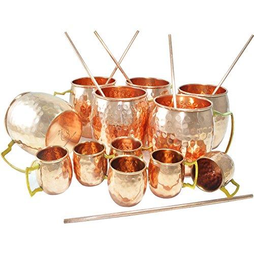 DakshCraft Copper Mugs Capacity - 500 ml  1690 oz Shot Mugs Capacity - 59 ml  2 oz Straw for Drinking Beer Set of 6