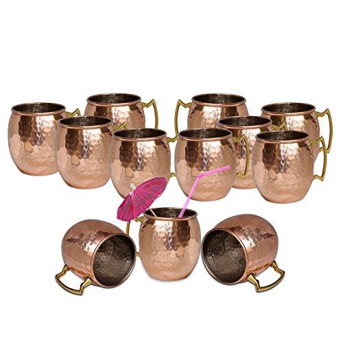 DakshCraft Hammered copper barrel with nickel Mosocw Mule Mug Capacity - 500 ml  1690 oz Set of 12