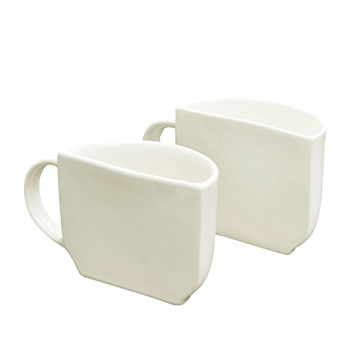ExclusiveLane Unique Half Ceramic Cups Set In White -Tea Cups Coffee Mugs Set Teacups Party Cups And Saucers Set Teasets