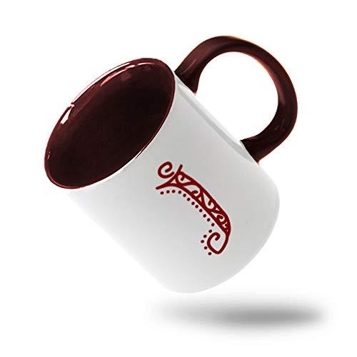 Colorful Coffee Mug MaroonJ Pattern Initial Monogram Letter J Ceramic Tea Cup 11 Oz Maroon Inner Handle