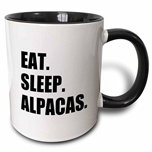 3dRose Eat Sleep Alpacas - funny random animal love text - fun humor humorous - Two Tone Black Mug 11oz mug_180379_4 11 oz BlackWhite