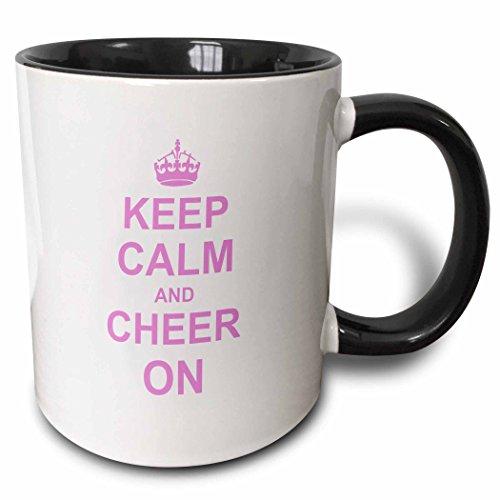 3dRose mug_157697_4 Keep Calm and Cheer on Carry on Cheering Gift for Cheerleaders Pink Fun Funny Humor Humorous Two Tone Black Mug 11 oz BlackWhite