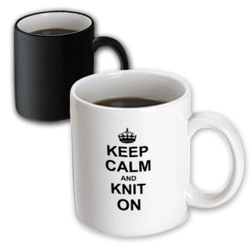 3dRose mug_157736_3 Keep Calm and Knit on Carry on Knitting Knitter Hobby Gifts Black Fun Funny Humor Humorous Magic Transforming Mug 11-Ounce