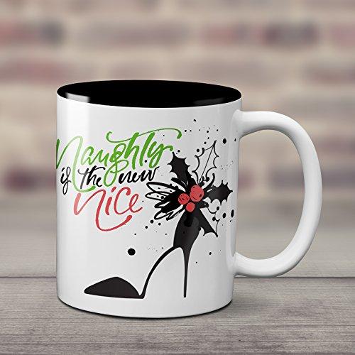 Naughty is the new Nice - Humorous mug - Red green and black - 11 ounce mug - Gift for self