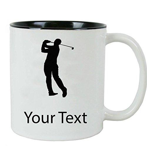Personalized Custom Male Golfer Golf 11 oz White Ceramic Coffee Mug with White Gift Box