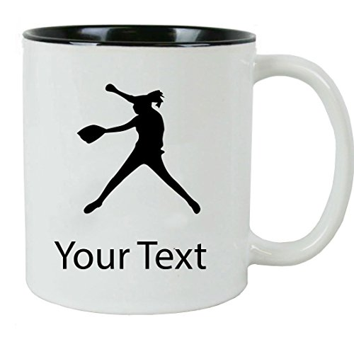 Personalized Custom Softball Pitcher Add Your Custom Text Ceramic 11 Oz Coffee Mug Customizable with Gift Box