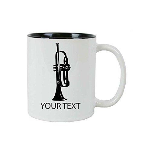 Personalized Custom Trumpet 11 oz White Ceramic Coffee Mug with White Gift Box