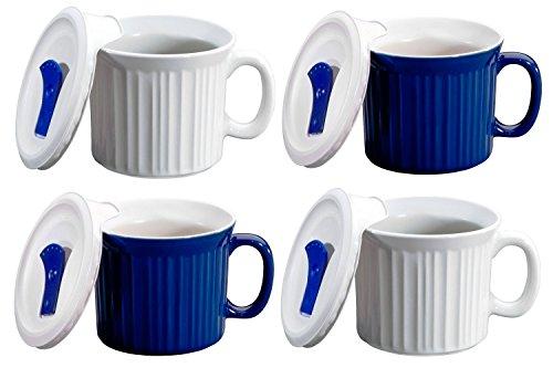 CorningWare Pop in mug 4 mugs with vented plastic covers Bake Microwave 20 oz591ml WhiteBlue