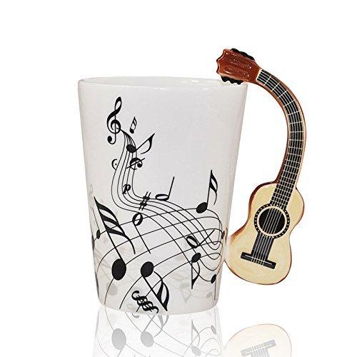 I-MART Musical Notes Design Ceramic Drink Tea Coffee Mug Cup Acoustic Guitar