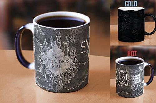 Morphing Mugs Harry Potter Hogwarts Magical Marauders Map Heat Reveal Ceramic Coffee Mug - 11 Ounce Black and White Reveal