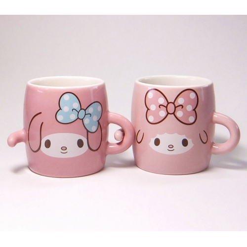 2 Mug Cups set Sanrio My Melody Piano Pair mug CL-0120 Pink