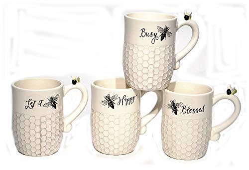 Ceramic Bee Coffee Mug Cup - Set of 4