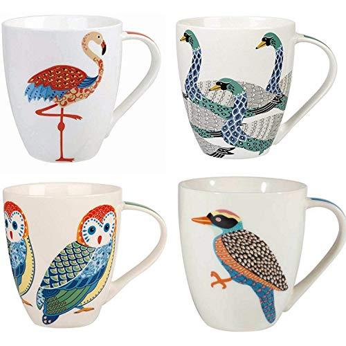 Churchill China Queens Paradise Birds Colourful Owl Woodpecker Flamingo Swans Mug Cup Set of 4 500ml 169 fl oz