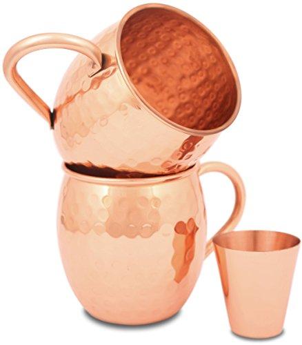 Zafmann Copper Mugs - Moscow Mule - Copper Mug - Hammered  Moscow Mule Copper Mugs - Mule Mugs Cups Set- Copper Mugs Set - Solid Pure Copper - Mule Kit