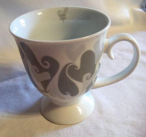 Mary Kay Coffee Cream Coffee Mug Hearts Grey Silver 2002 Limited Edition