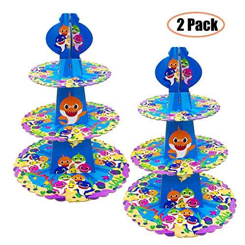 2 PCS Baby Cake Stand Party Supplies 3 Tier Baby Cardboard Cupcake Stand Dessert Cupcake Holder for Kids Birthday Party Gender Reveal Party Baby Shower Shark Themed Party