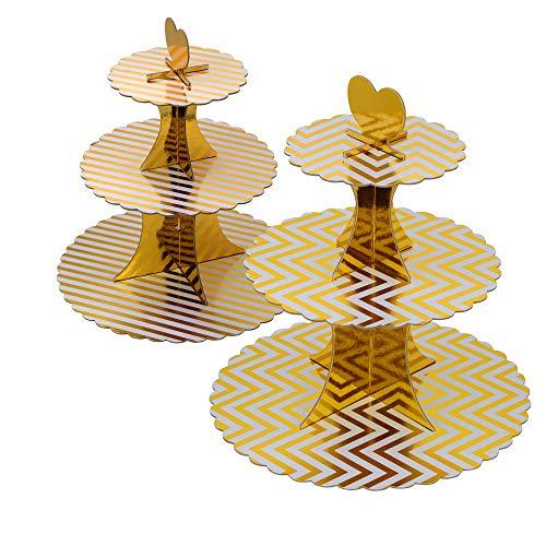 3-Tier gold stripe Cardboard Cupcake StandTower 2-Set 2 gold stripe