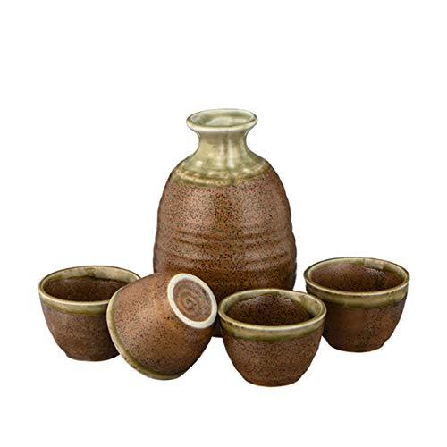 LTLWSH 5-Piece Japanese Sake Set Include 1PC Sake Bottle and 4PCS Sake Cups Ceramic Sake Set BoxBrass
