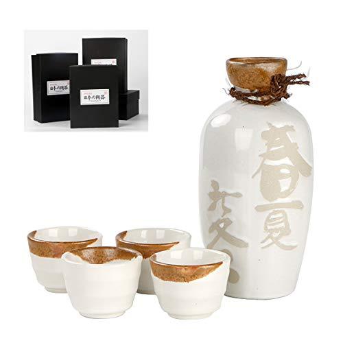 LTLWSH Japanese Sake Set 5-Piece Include 1PC Sake Bottle and 4PCS Sake Cups Ceramic Sake Set Box