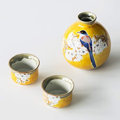 LTLWSH Sake Set Sake Cup 3-Piece Set Japanese Wine Set Gifts Rich Yellow Glaze Cherry Blossom Tit Bird Ceramics1 Sake Bottle and 2 Sake Cups