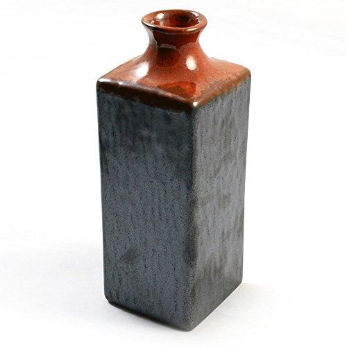Silver Fiery Orange Glazed Japanese Sake Bottle