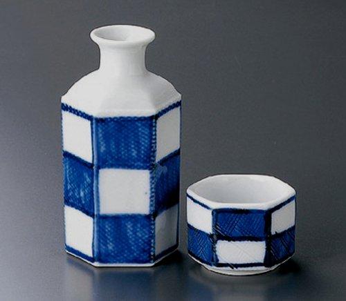 ICHIMATSU-HEXAGON Jiki Japanese Porcelain SAKE Set