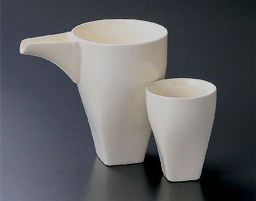 KATAKUCHI-WHITE Jiki Japanese Porcelain SAKE Set