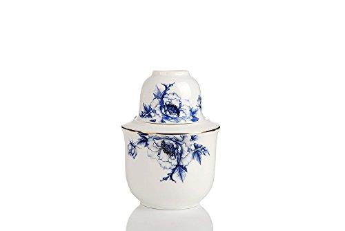 Porlien Japanese Porcelain Sake Set with Warmer Blue Floral Elegance CollectionLARGE