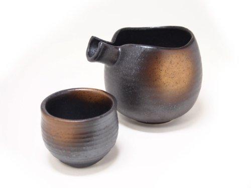 SABI-GOLD BROWN-BLOW Jiki Japanese Porcelain SAKE Set