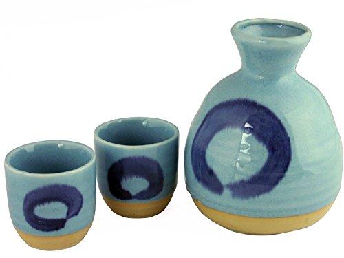 Set of 3 Pieces Japanese Porcelain Sake Set Pale Sky Blue Enso Zen Rings Design