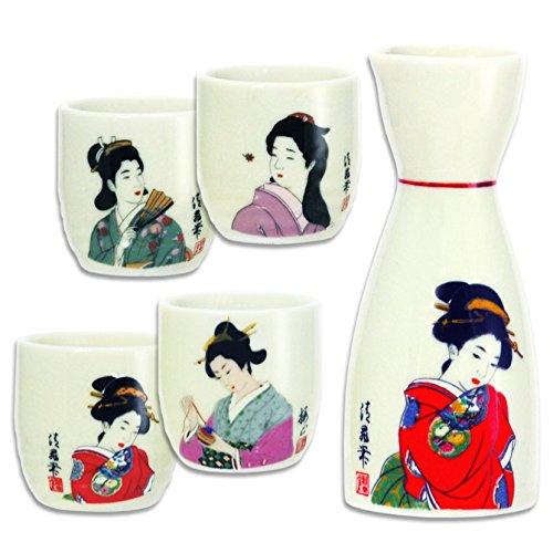 Set of 5 Pieces Japanese Porcelain Kimono Geisha Sake Bottle Cups Set