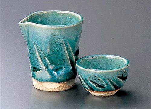 TURKEY-GLAZE Jiki Japanese Porcelain SAKE Set 33inches Set of 2 SAKE Sets Japanese original Porcelain