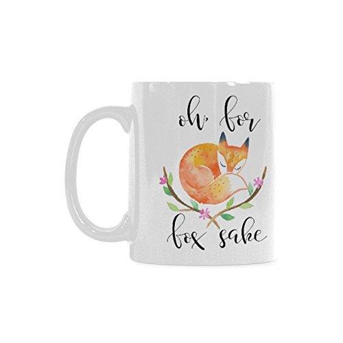 Lionkin8 Funny Inspirational Coffee Mug or Tea CupOh For Fox sakeCeramic White Mugs 11 Ounce