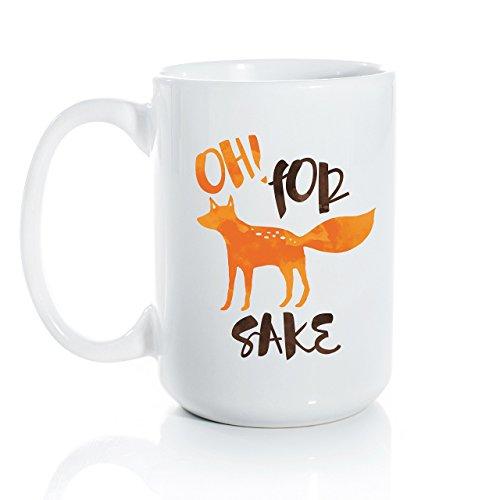 Oh For Fox Sake Ceramic Coffee Mug - Large 15oz Coffee Cup - Fox and Clover Original